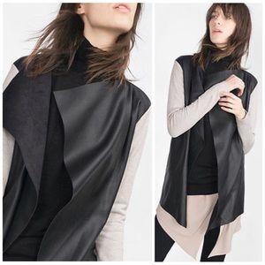 Zara Knit Faux Leather Drape Cardigan Jacket